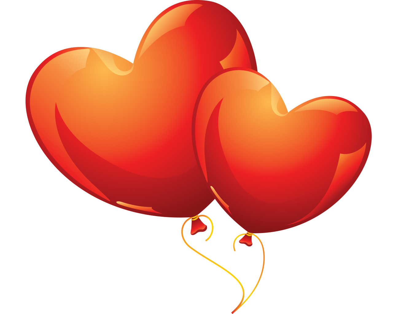 Love Heart Balloons PNG Image