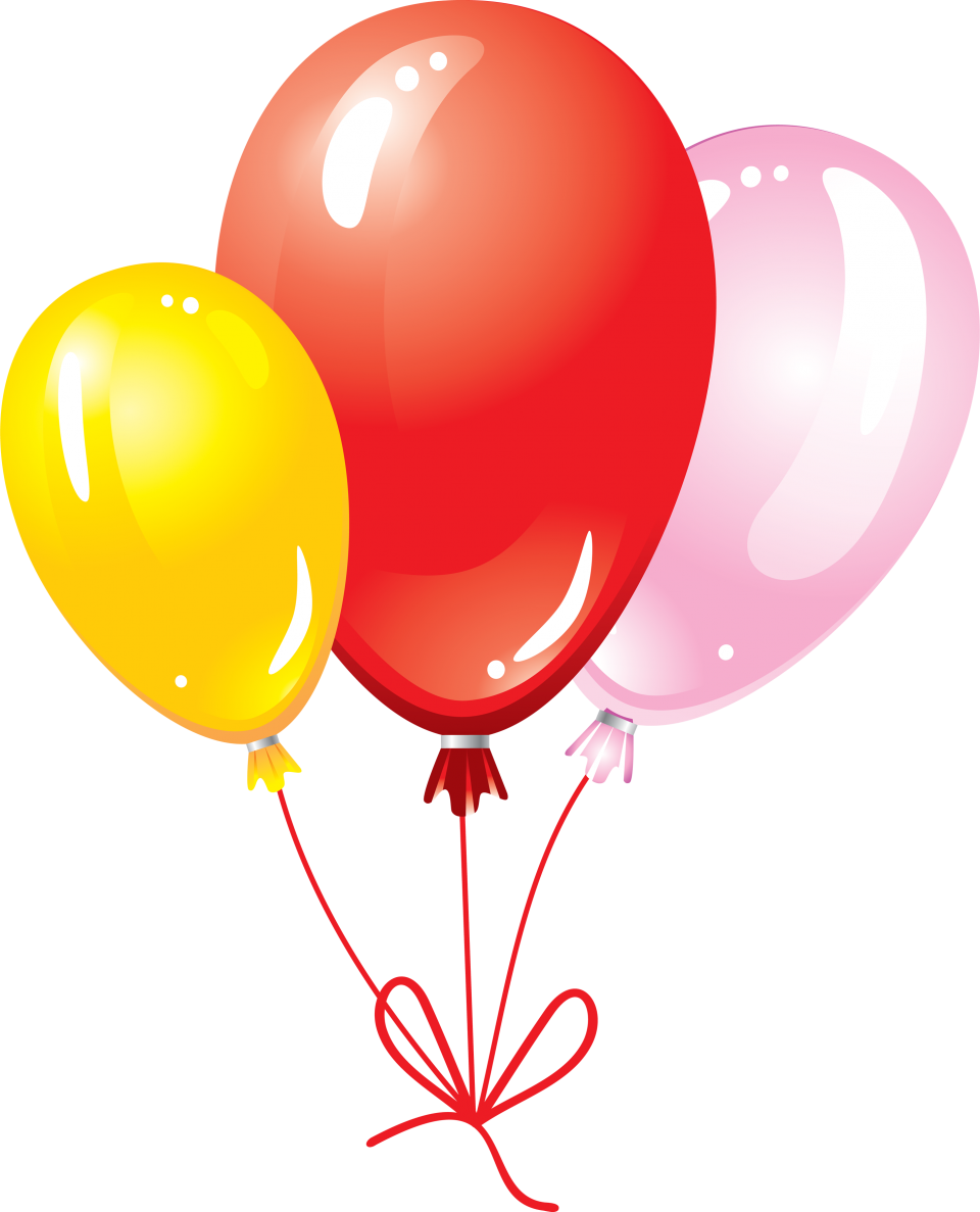 Multicolored Flying Balloons with Bow PNG Image