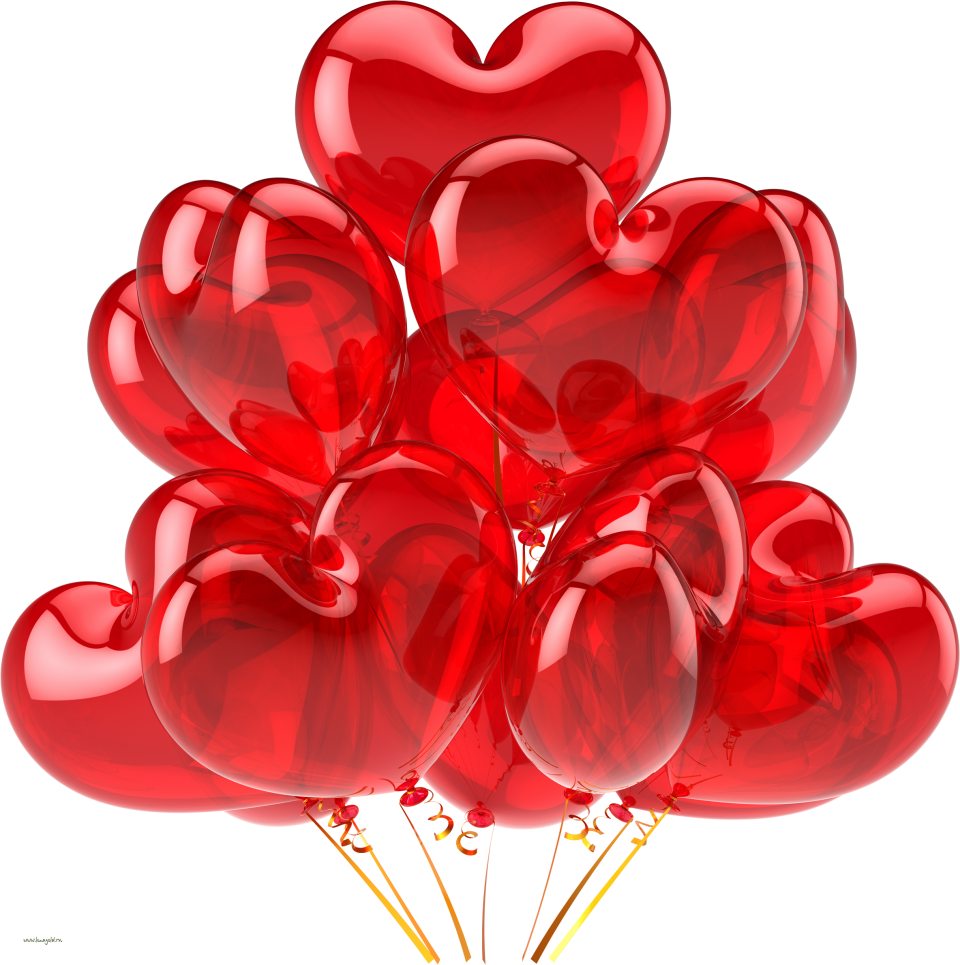 Heart Flying Balloons PNG Image