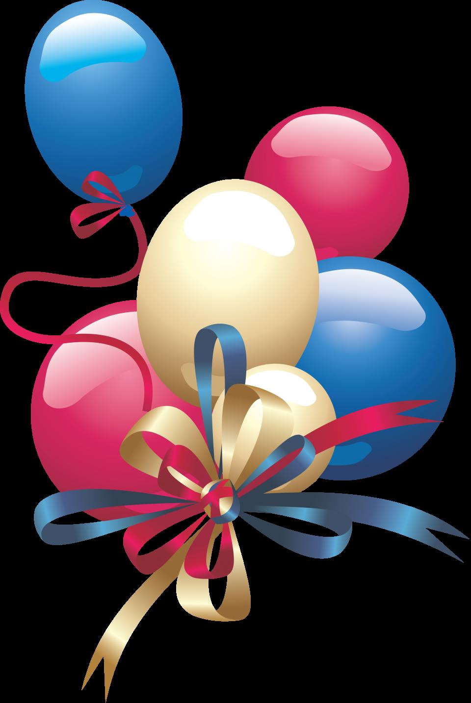 Festive Birthday Balloons PNG Image
