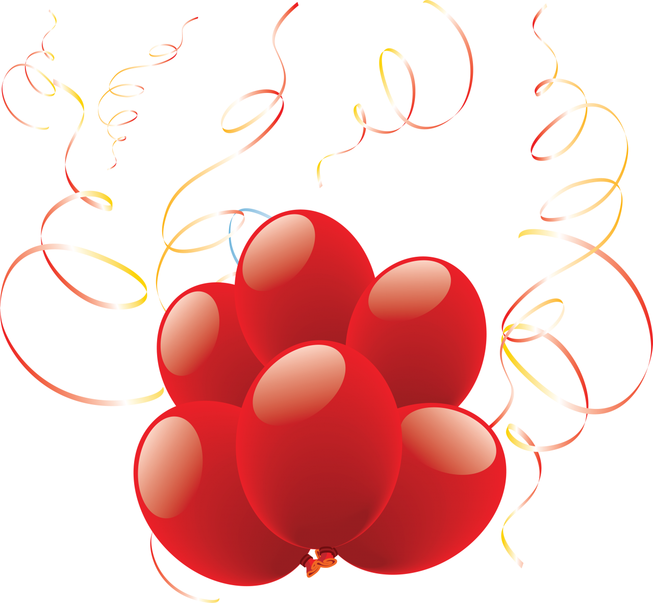 Heart Shaped Balloons with Ribbon PNG Image