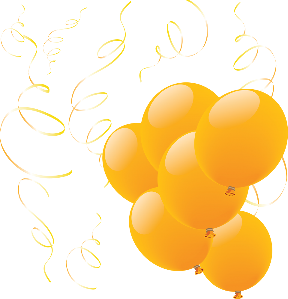 Many Yellow Balloons  PNG Image