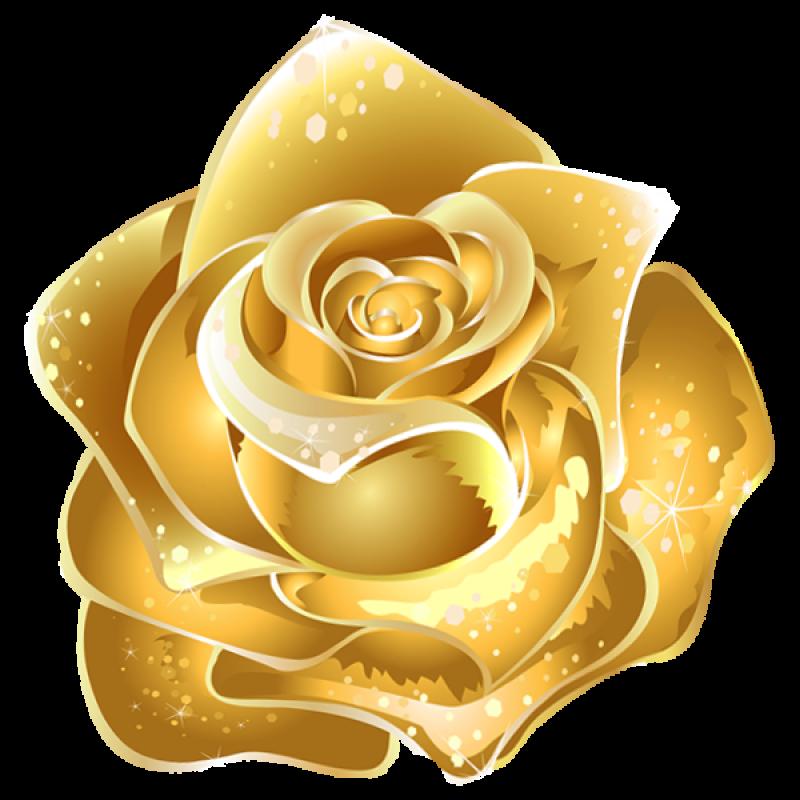 Beautiful Gold Rose Decor PNG Image