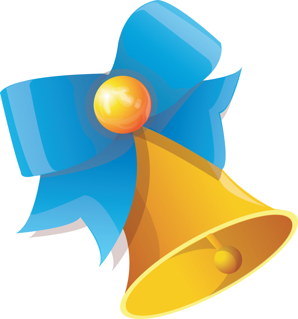Bell with Blue Ribbon PNG Image