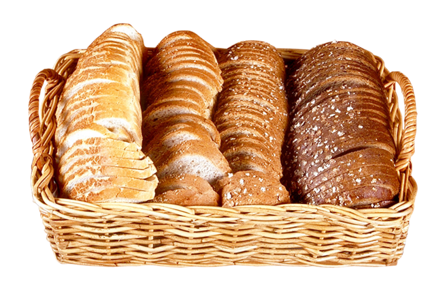 Bread Slices in Wicker Basket PNG Image