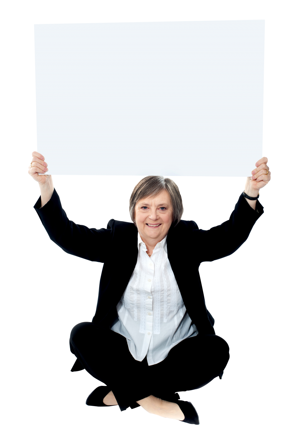 Business Women Holding Banner PNG Image
