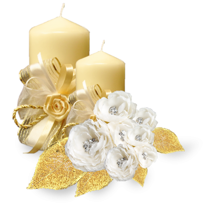 Golden Candle with White Roses PNG Image