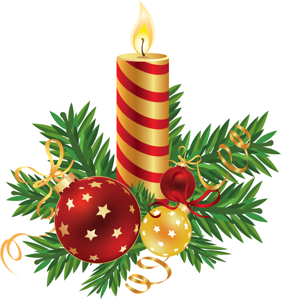 Decorated Striped Christmas Candle PNG Image