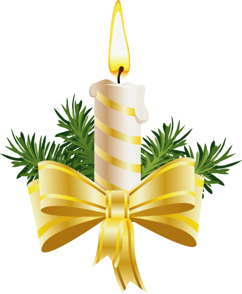 Christmas Candle with Golden Bow PNG Image