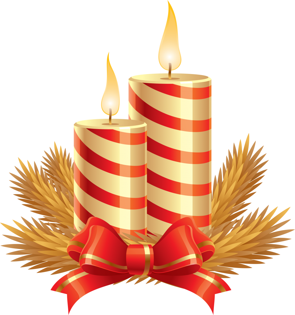 Striped Christmas Candle with Tiny Bow PNG Image