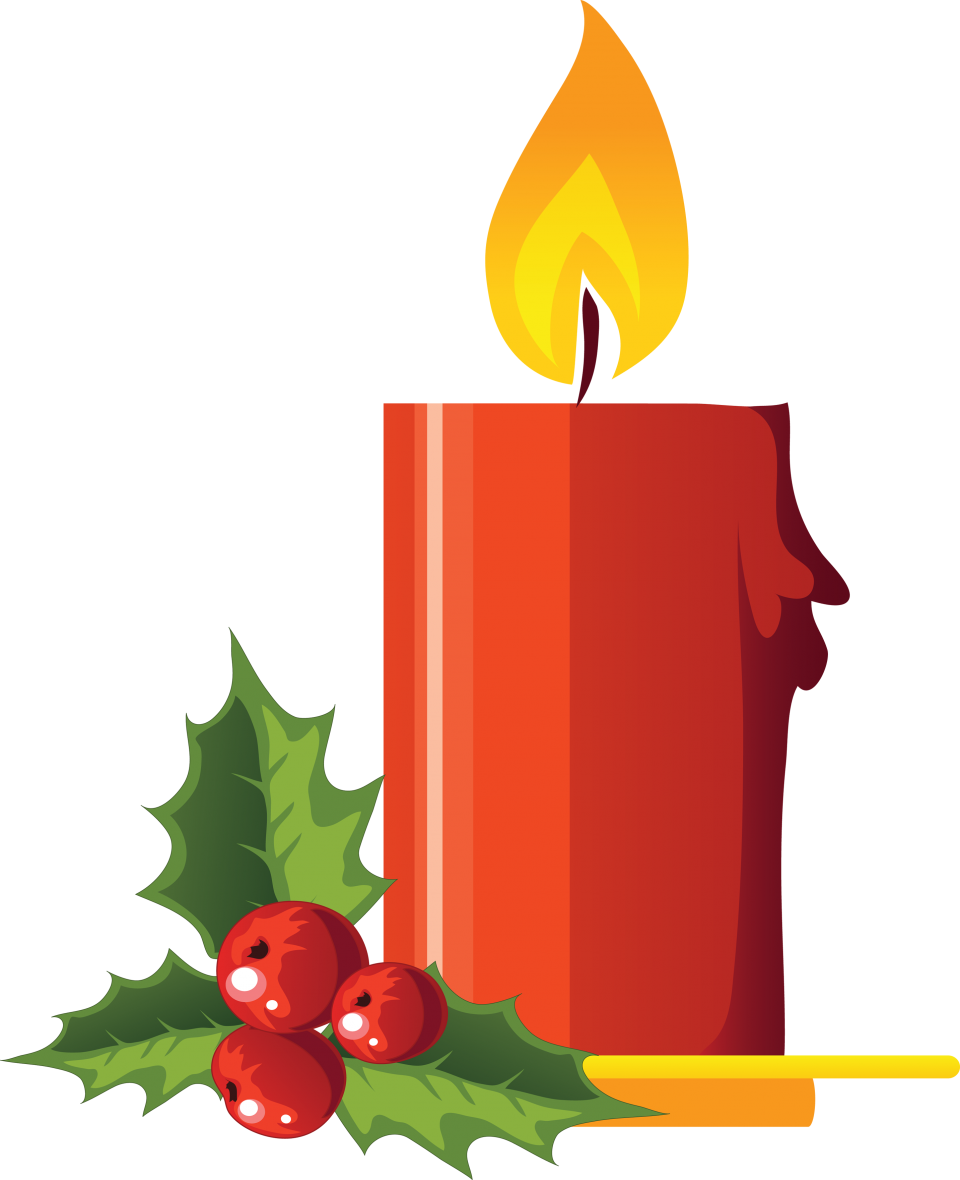 Large Christmas Candle with Mistletoe PNG Image