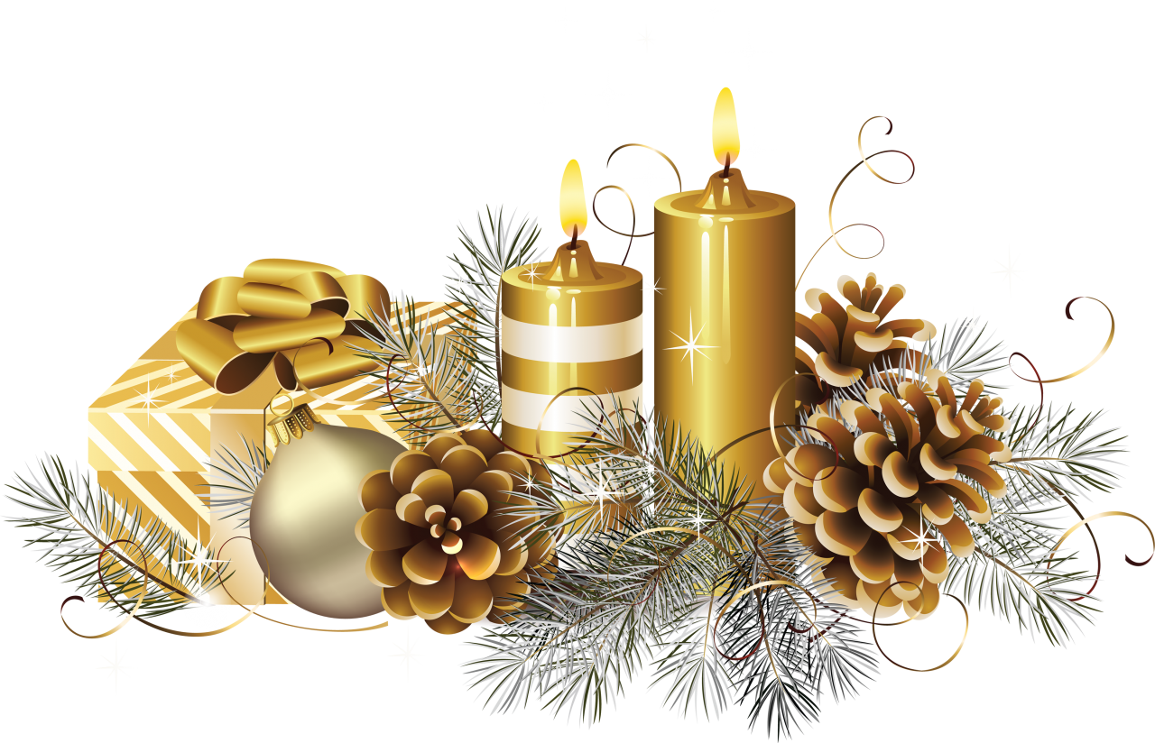 Golden Christmas Candle with Gift  PNG Image