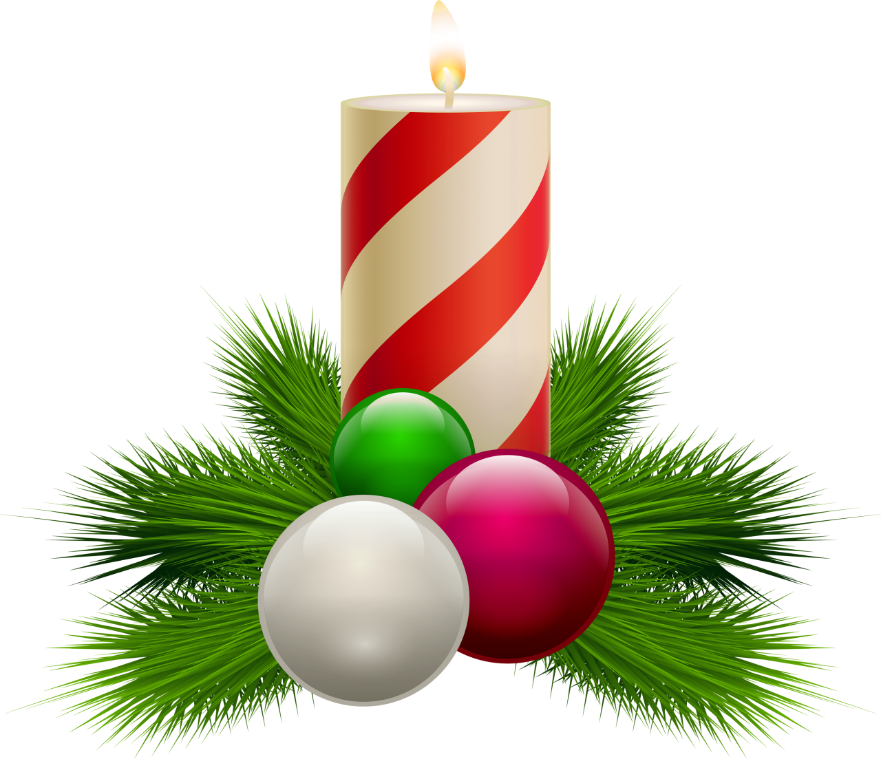 Striped Christmas Candle with Baubles PNG Image