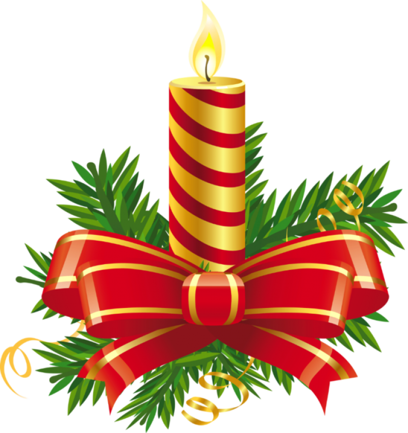 Christmas Candle Striped with Bow PNG Image