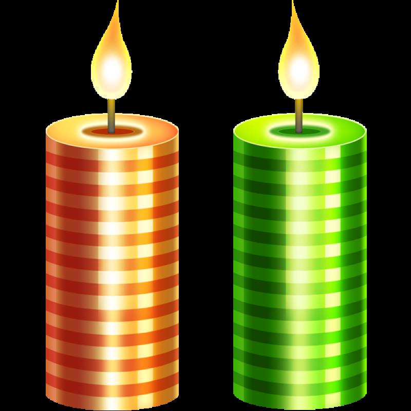 Two Christmas Candle PNG Image