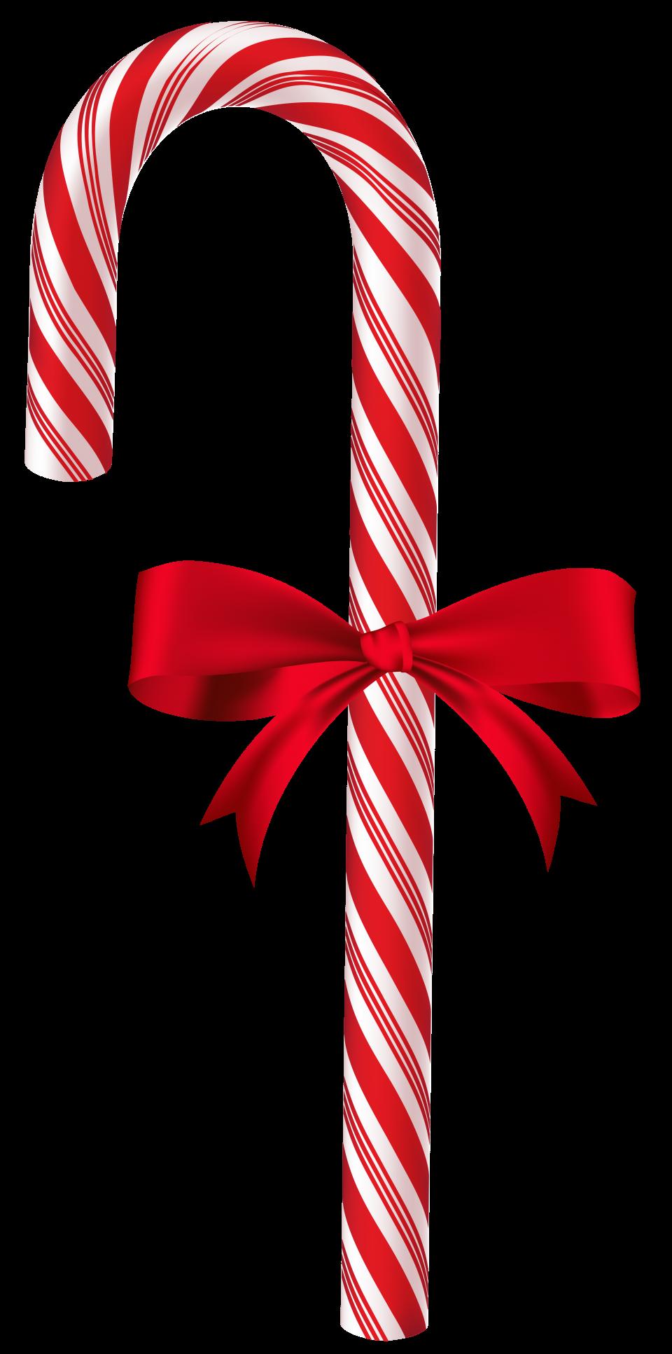 X-mas Sugar Cane with Ribbon PNG Image