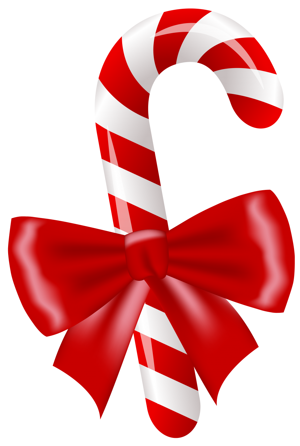 Christmas Candy Stick with Bow PNG Image