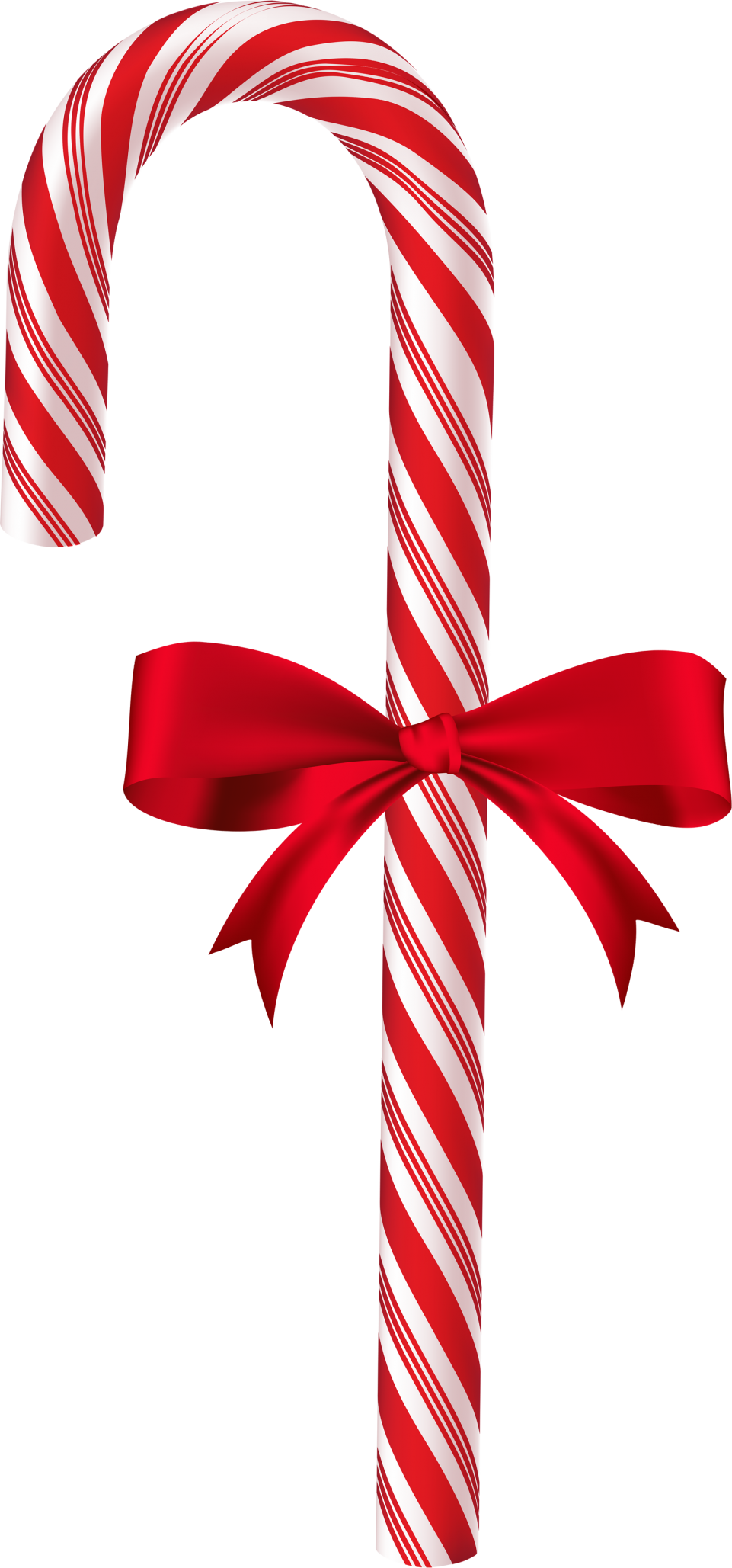 Large Christmas Candy Cane with Bow PNG Image