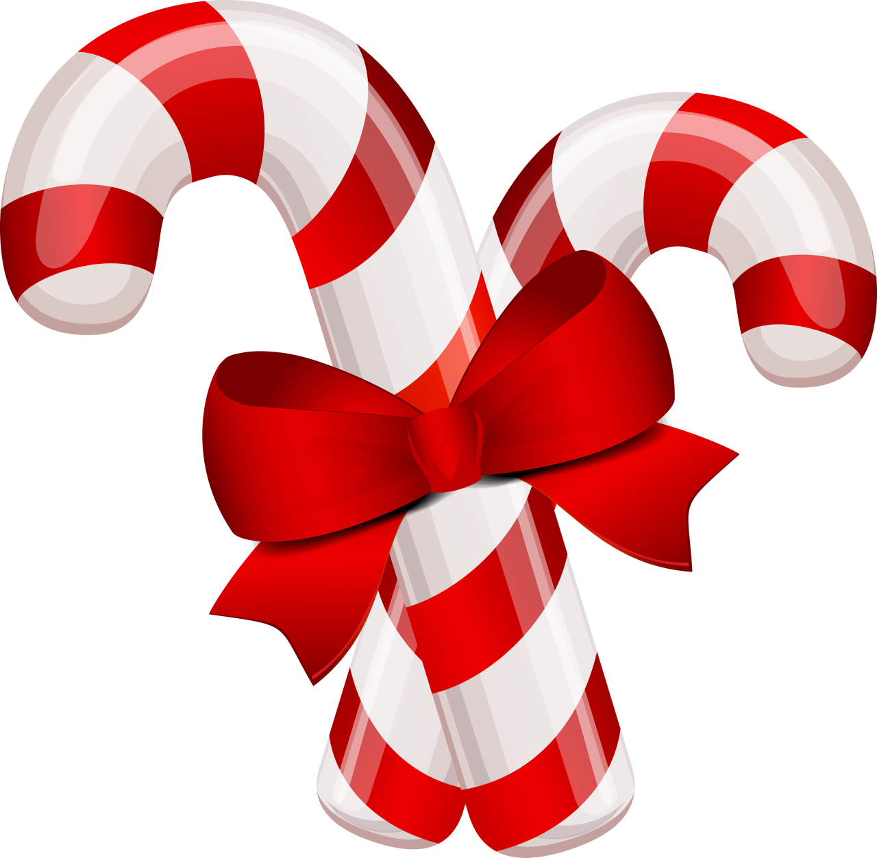 Candy Canes with Bow PNG Image