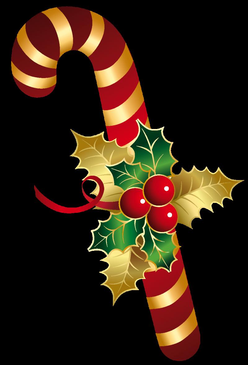 Christmas Sugar Cane with Mistletoe PNG Image