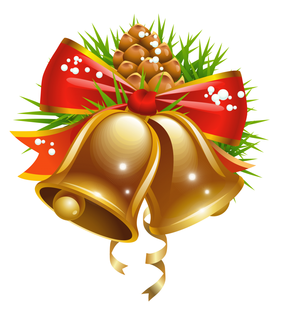 Celebration Christmas Bell with Pine PNG Image