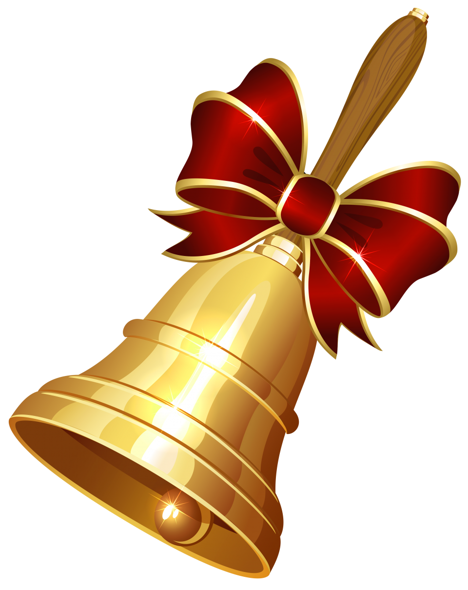 Golden Christmas Bell with bow PNG Image
