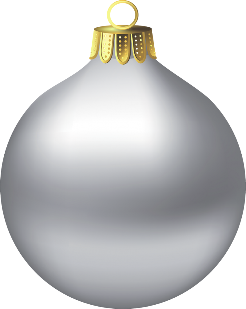 Silver Christmas Bauble PNG Image