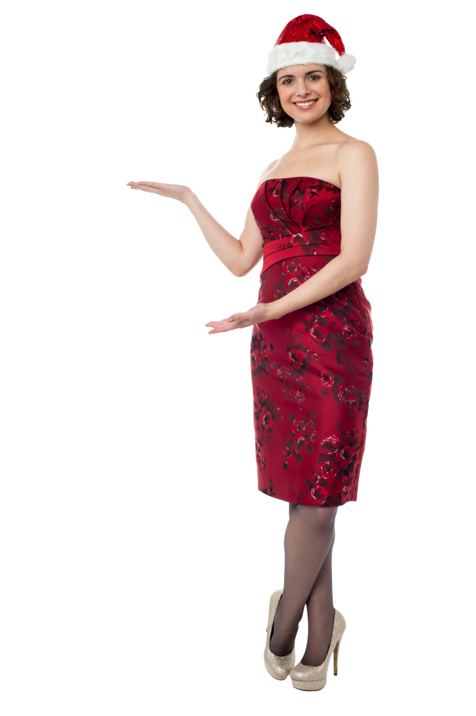 Woman with Red Christmas Hat PNG Image