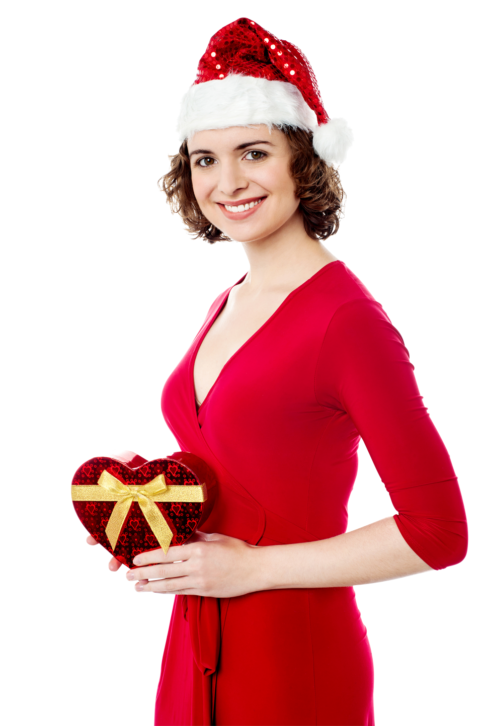Santa Claus Female Holding Gift  PNG Image