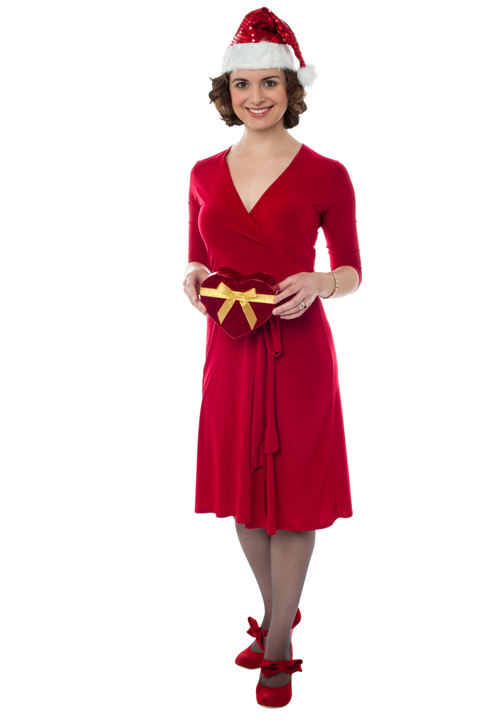 Female Santa Claus with Red Dress PNG Image