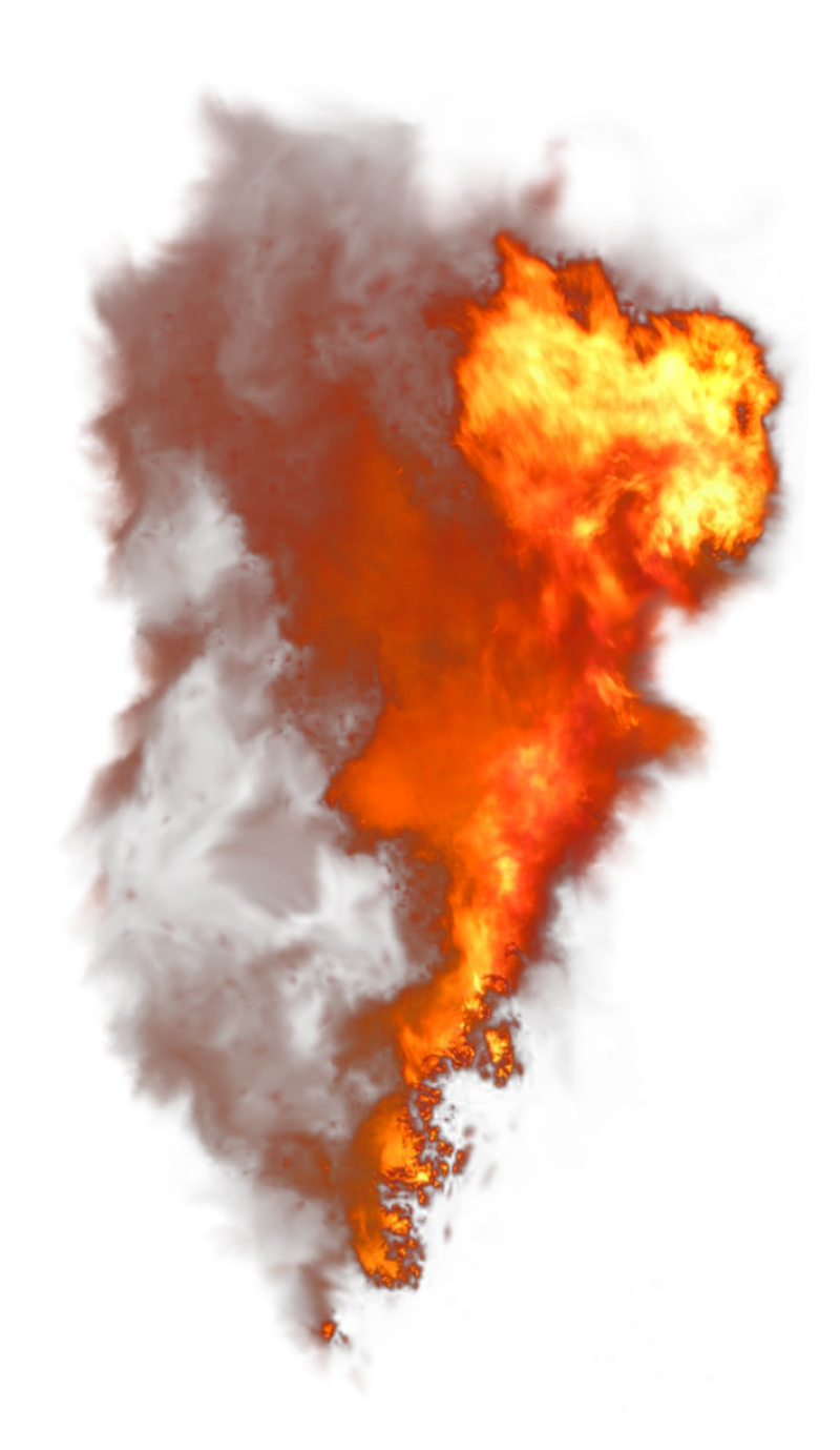 Burning Flame with Smoke PNG Image
