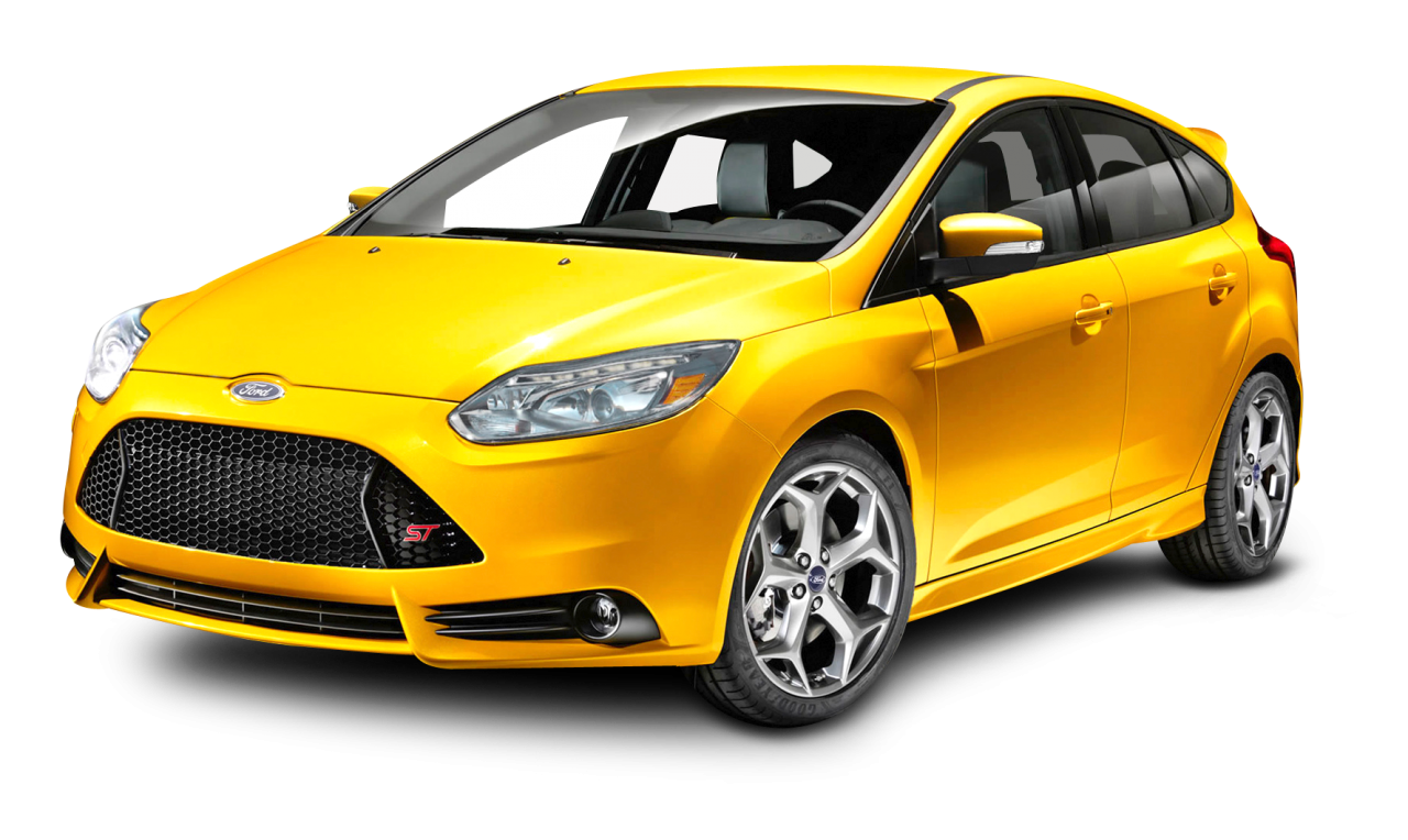 Ford Focus Yellow Car PNG Image