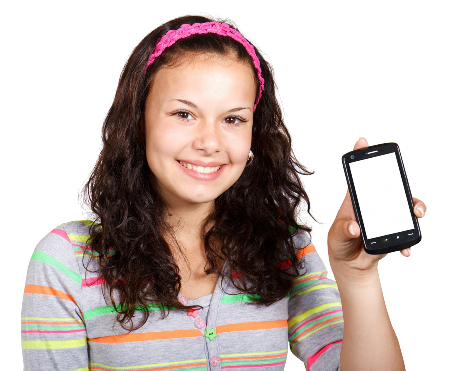 Girl With Mobile Phone PNG Image