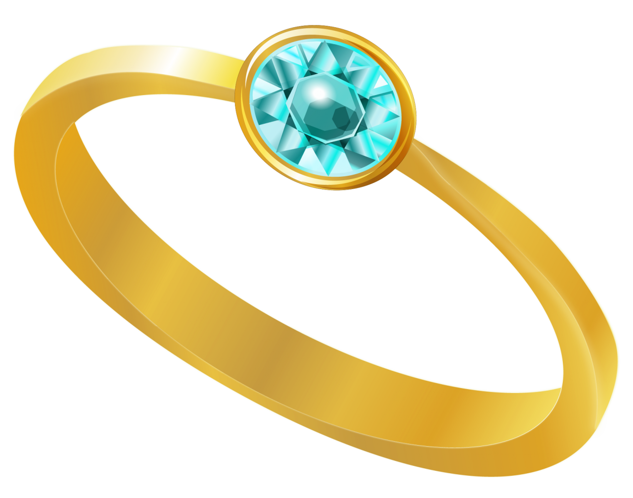 Gold Ring With Blue Diamond PNG Image