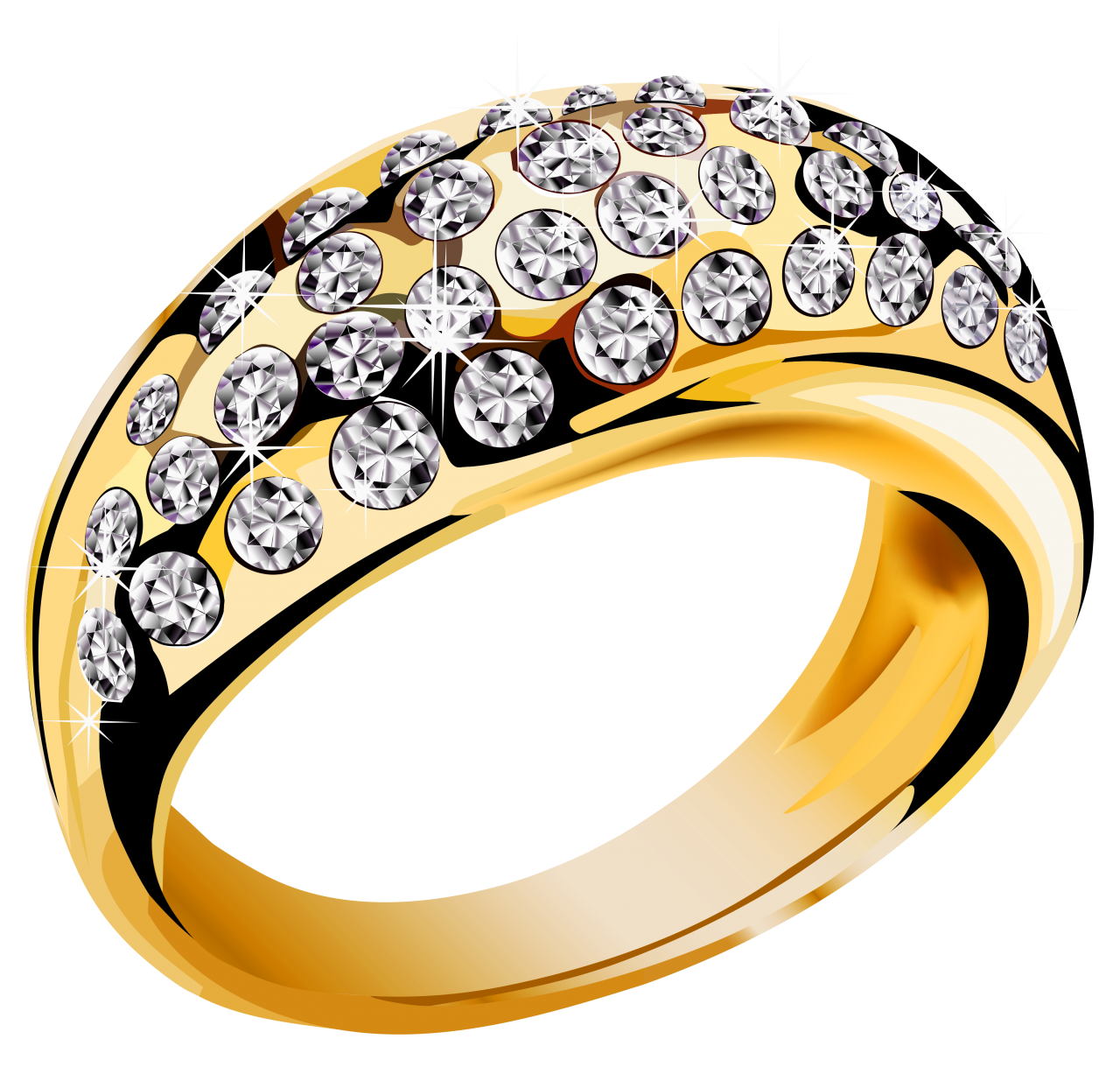 Gold Ring With Diamonds PNG Image