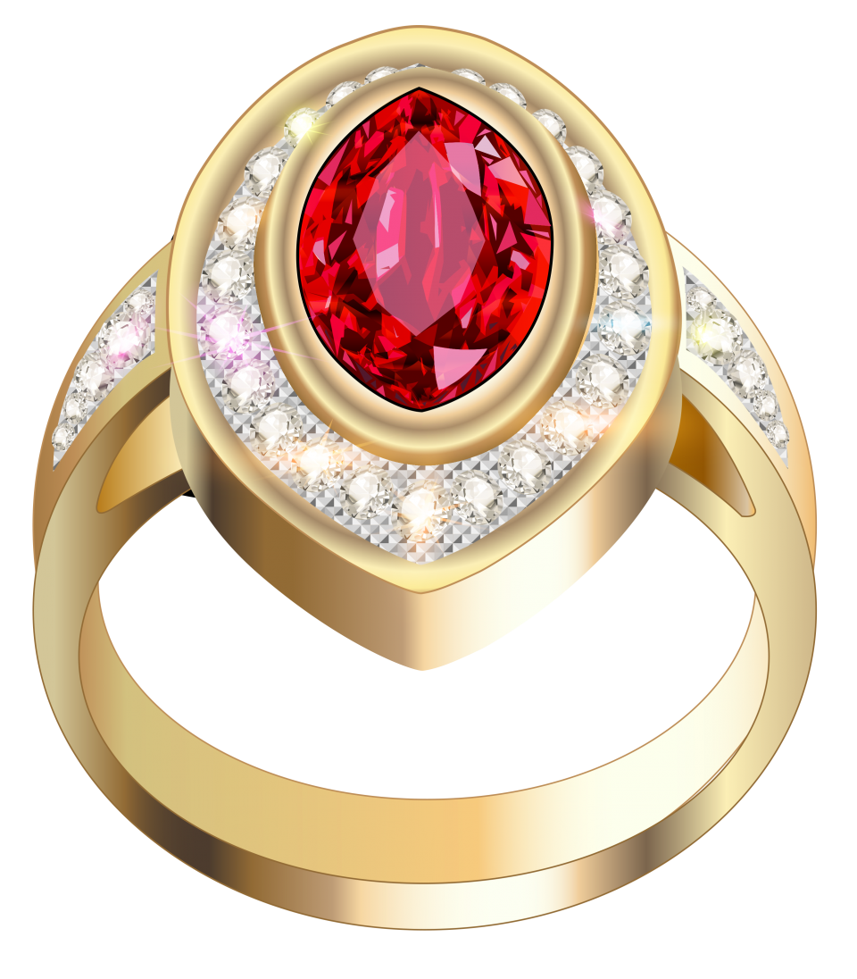 Gold Ring With Red Diamonds PNG Image