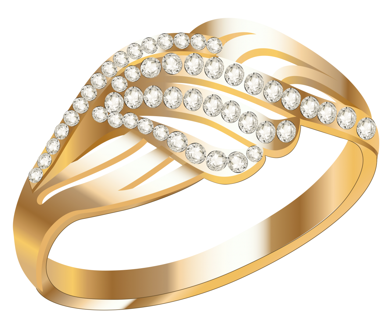 Gold Ring With White Diamond PNG Image