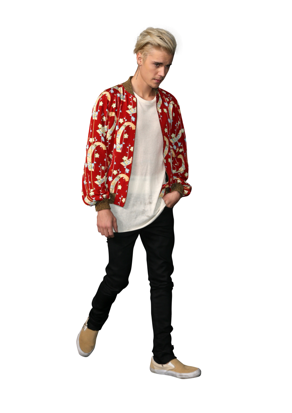 Justin Bieber dressed in a Red Shirt PNG Image