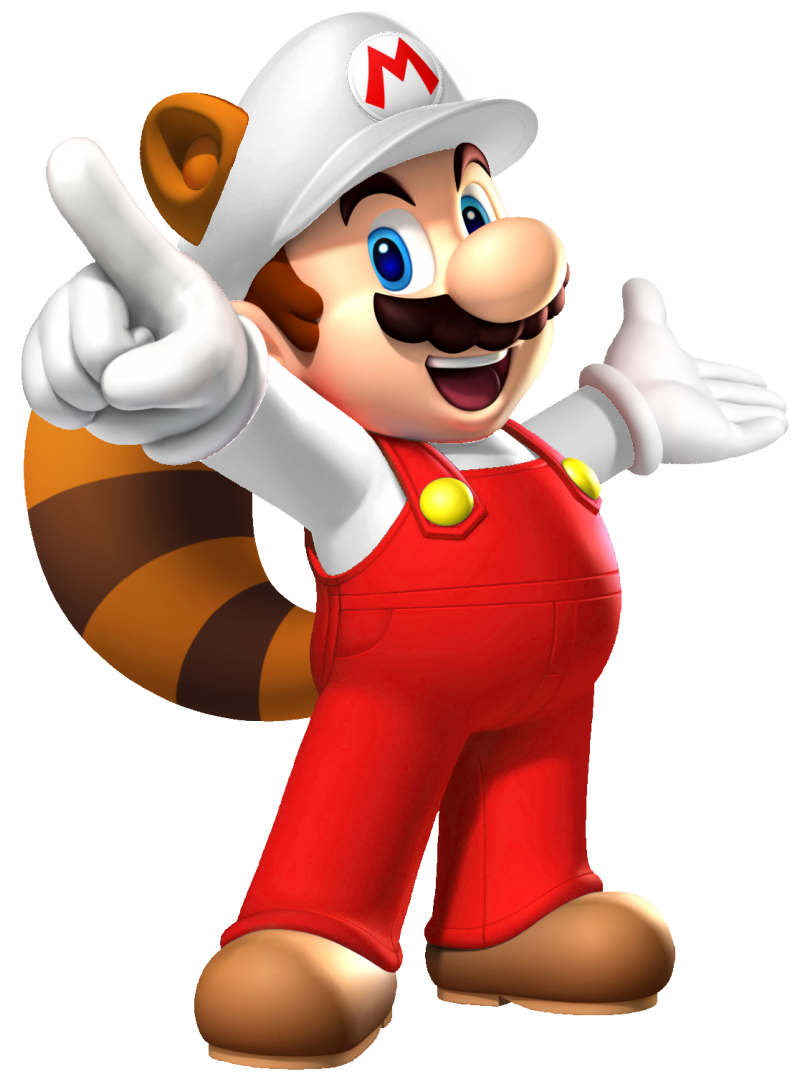 Mario Fire Raccoon PNG Image