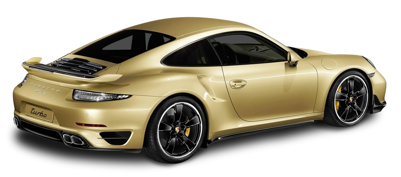 Porsche 911 Turbo Aerokit Gold Car PNG Image