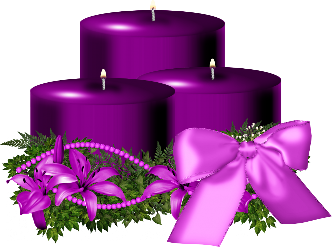 Tree Purple Christmas Candle Decorated PNG Image
