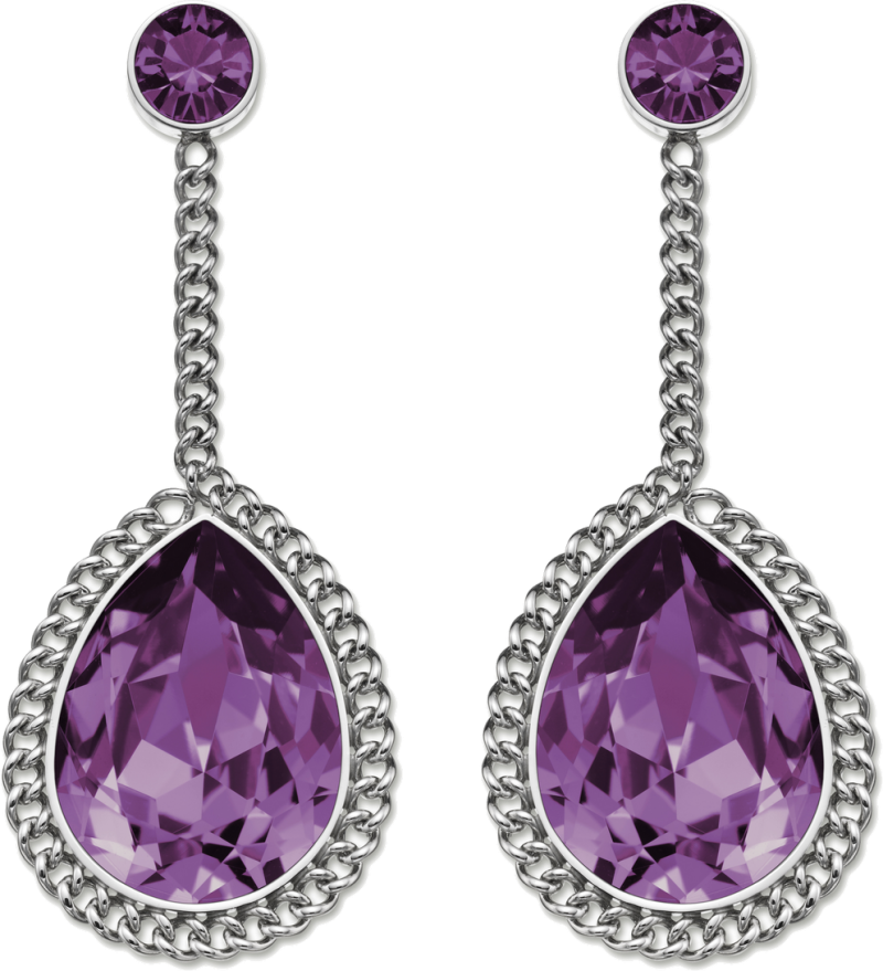 Purple  Diamond Earrings PNG Image