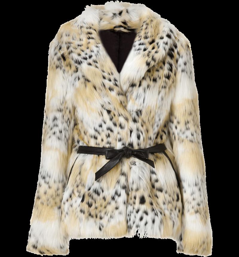 Rachel Zoe Tonal Cream Cheetah Faux Macgraw Jacket PNG Image