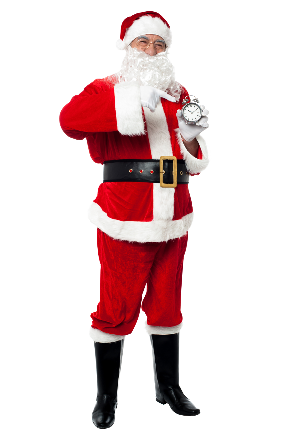 Santa Claus Pointing on Clock PNG Image