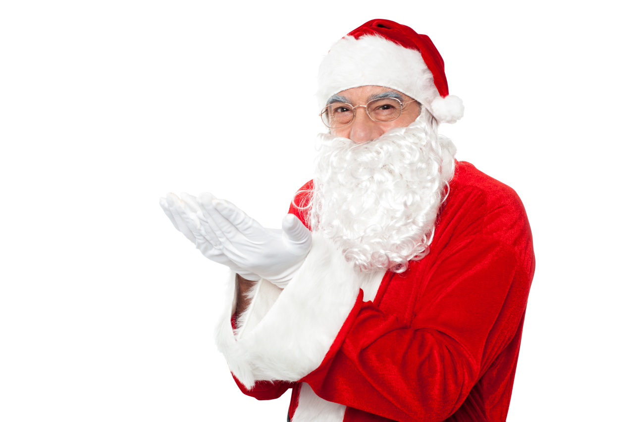 Santa Claus Holding Hands Left PNG Image