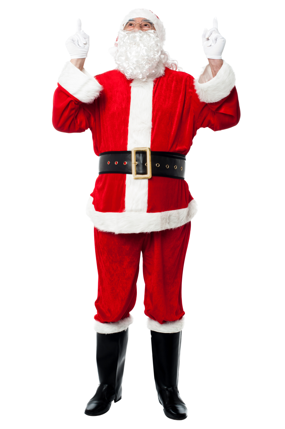 Santa Claus Holding Two Fingers Up PNG Image