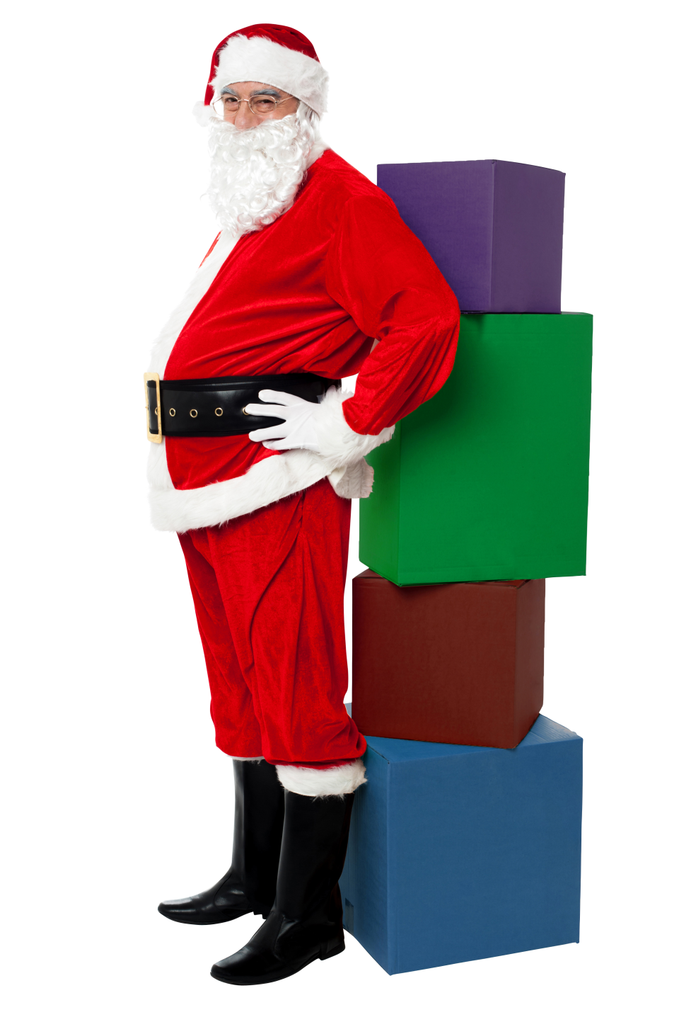 Santa Claus with Four Boxes PNG Image