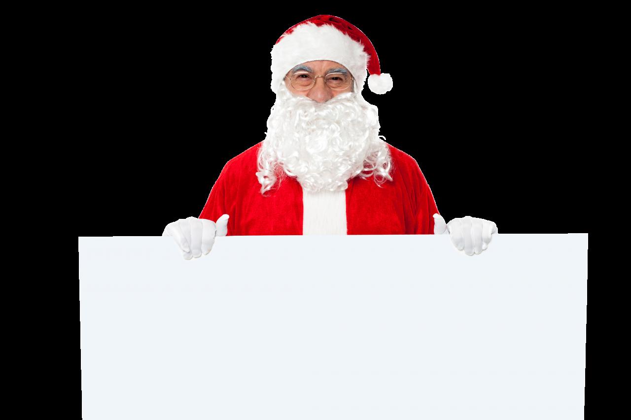 Santa Claus Holding White Paper Horizontal PNG Image