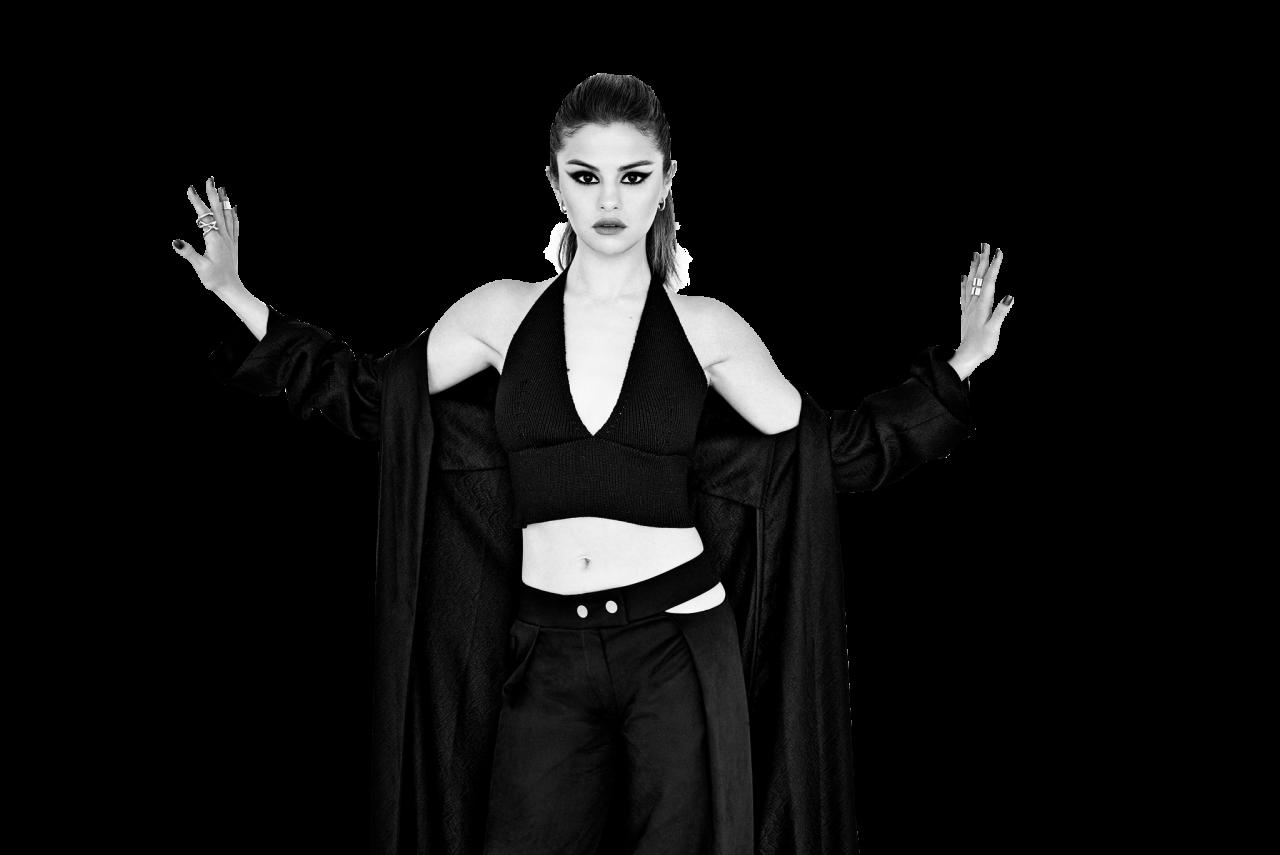 Selena Gomez Black and White PNG Image