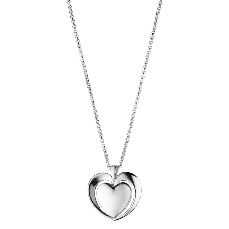 Silver Heart Pendant PNG Image